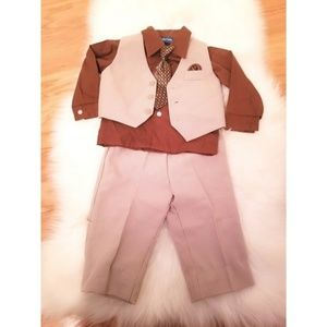 Other - Tan & brown dress pants with vest with button up